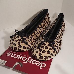 Dearfoams Leopard Ballerina Flat Slippers